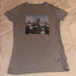 Grey T-shirt with Flowers